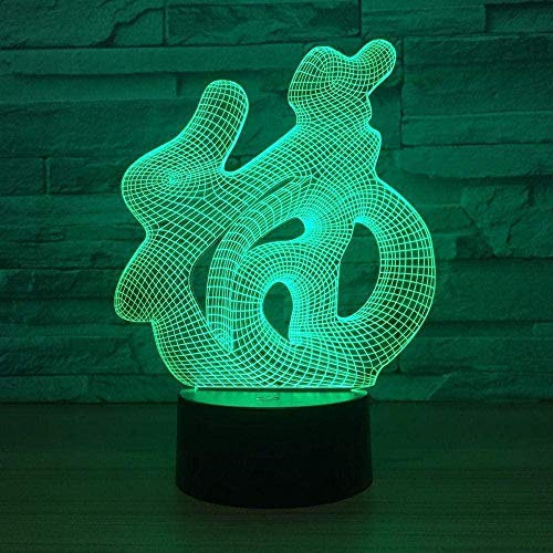 3D Optical Illusion Lamp Colors Change Night Light Hologram Optical Lamp Blessing Pattern For Kids Boys Girls Women Gift 7 Colors With Remote Control Changing