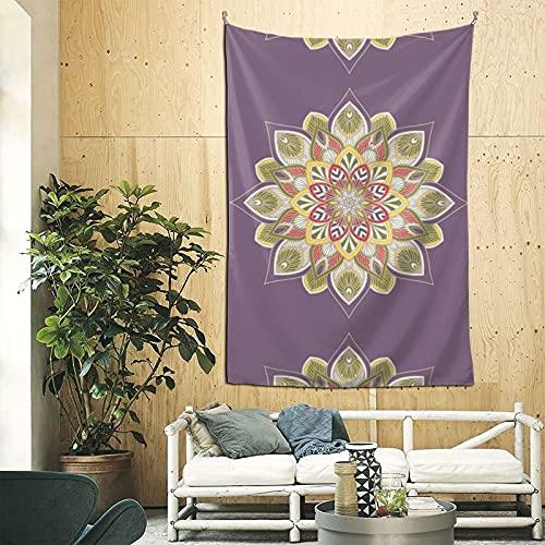 Tapiz para colgar en la pared, diseño de mandala, color morado, verde, para dormitorio, 200 x 60 cm