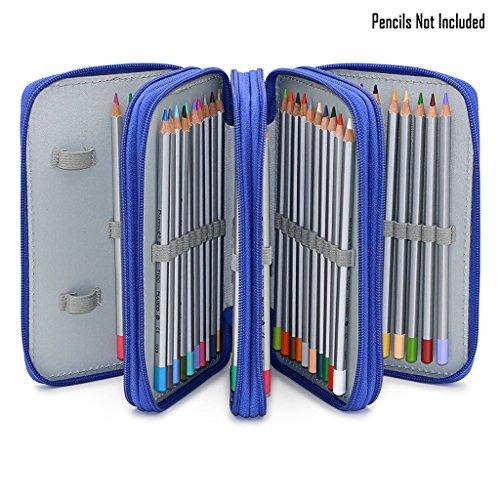 BTSKY Handy Wareable Oxford Pencil Bag 72 Slots Pencil Organizer Portable Watercolor Pencil Wrap Case (Blue)