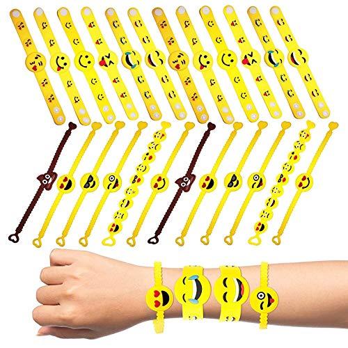 THE TWIDDLERS 36 Braccialetti Emoji - Cinturino Slap per Bambini, Braccialetti con Chiusura Automatica Ideale per Borse da Festa e pentolaccia - Perfetto Come regalino per Tutti i Bambini