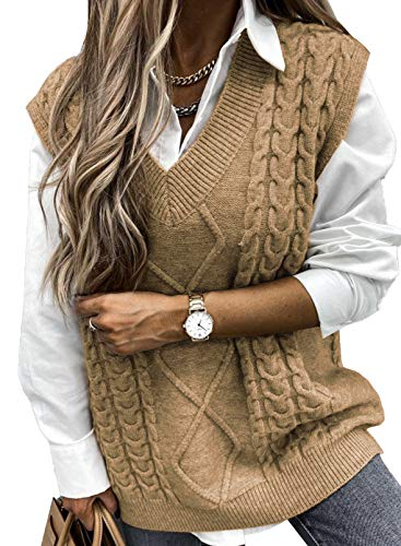 FIYOTE Pull Femme sans Manches Gilet en Tricot Veste en Cotton Pull Chaud Classique Veste Mignon col V,XXL,A Marron