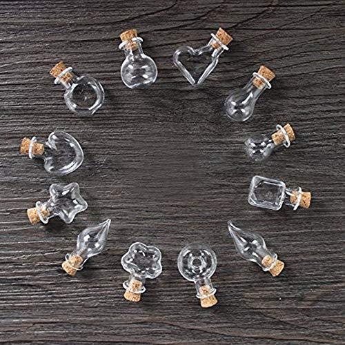 Ritte Mini Cristal Botella, 12 Piezas Botes de Cristal con Tapón de Corcho, Manualidad Decorando Bodas Bautizos Comuniones