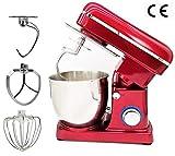 HOSUAI Küchenmaschine 1500W Hohe Energie Knetmaschine 5 Liter-Rührschüssel, Geräuschlos 6-Stufige Geschwindigkeit Teigmaschine, Spülmaschinengeignet Mehrweg