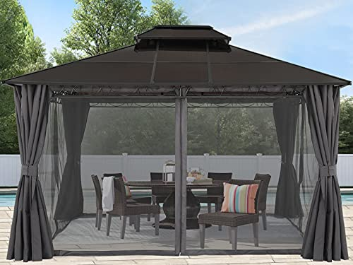 ABCCANOPY 10x12 Hardtop Gazebo, Steel Frame Double Vented Roof for Outdoor Garden Patio with Privacy Curtains and Netting (Dark Gray)