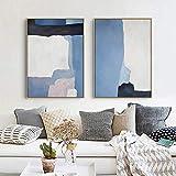 Cartel de la lona del arte de la pared de la textura azul abstracta nórdica y lienzo impreso para la sala de estar Decoración del hogar contratada moderna 50x70cmx2 Sin marco