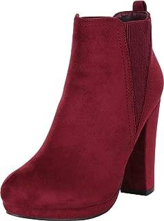Cambridge Select Women's Side Stretch Chunky Platform High Heel Ankle Bootie,8.5 B(M) US,Wine IMSU