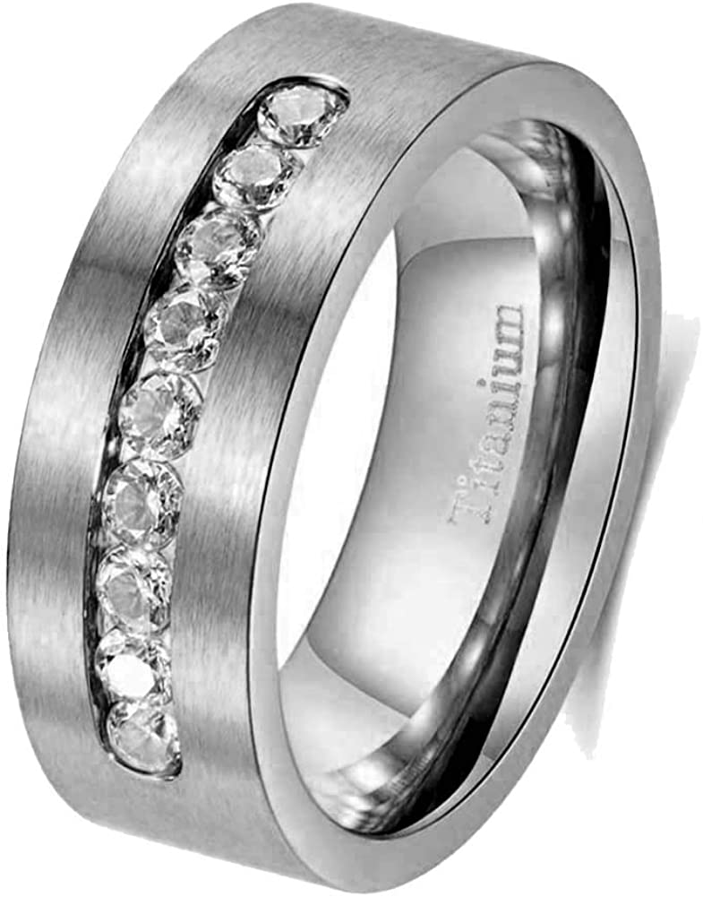 mensring Seattle Mall 8mm Titanium Steel Mens Boston Mall Ring Band Cz Wedding Man