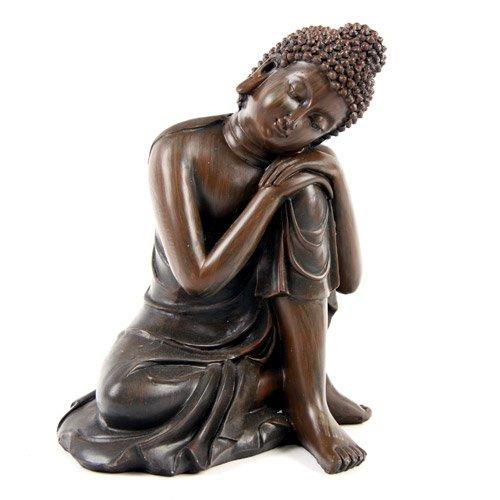 Holz Effekt Thai Buddha groß 14cm Stil ein Kopf auf dem Knie Statue