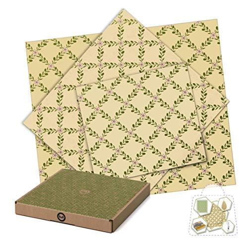 Coffret 3 Emballages Alimentaires Réutilisables Beeswax en Coton organique et Cire d'Abeille + Recharge + Chiffon Cellulose + Eponge Loofah + Crochet Inox (C)