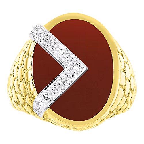 Anillo de ónix rojo y diamante, oro amarillo o blanco de 14 quilates