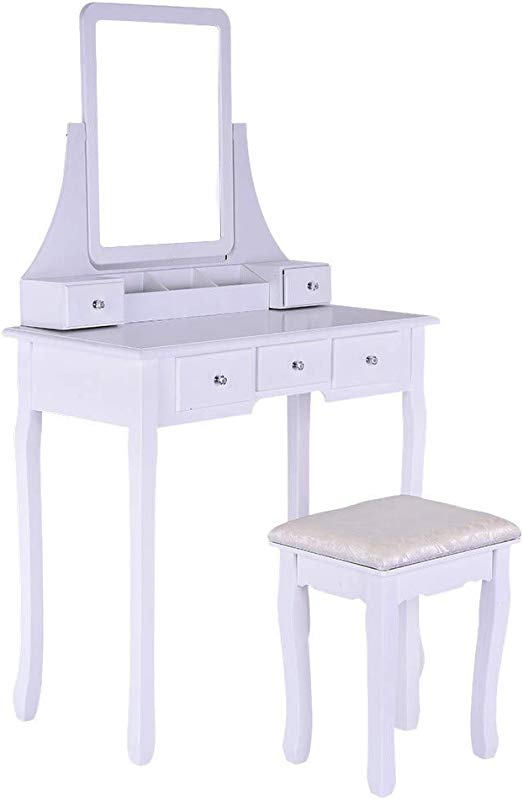 Hopeg Home Furniture Adjustable Desk For Girl Women Combination With Mirror Soft Chair No Back Cushioned Stool Dressing Table Vanity Makeup Vintage Wooden Table