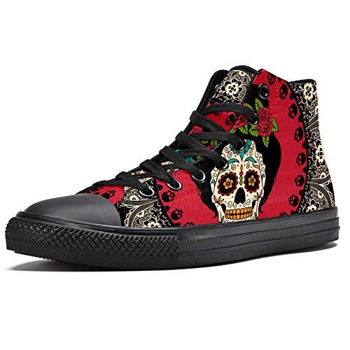 México Sugar Skull con Mandala High Top Zapatillas de deporte de moda con cordones zapatos de lona casual escuela caminar zapatos para hombres adolescentes niños, color Multicolor, talla 39 EU