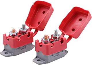 Gloaso 2pcs 50 Amps 12V 24V Type 1 Automatic Reset Circuit Breakers w/Cover #10-32 Studs Terminals Replacement