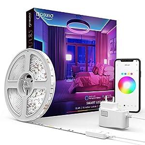 Gosund 5M Tira de LED Alexa WiFi, Luces LED RGB Inteligente Control Remoto por APP, Baile con Música, Compatible con Alexa Google Home, Led Strip Light para Habitación Cocina y Fiesta,12V