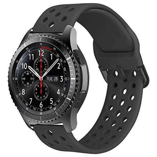 MroTech 22mm Correa Silicona Compatible para Samsung Gear S3 Frontier/Classic/Galaxy Watch 46mm Pulsera Repuesto para GTR 47MM/Huawei Watch GT/Active/Elegant/GT2 46mm 22 mm Banda,Deportiva Gri