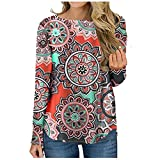 iYBWZH Women's Color Block Casual Tunic Blouse Long Sleeve Striped Pullover Floral Print Tunic Tops D-red