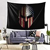 KKRBTer USA Flag Spartan Warrior Helmet Tapestry Wall Hanging Tapestries Colorful Wall Blanket for Living Room Bedroom Home Decor 80x60 Inches