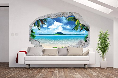 AM Wohnideen Vlies Fototapete/Poster XXL /3D Wandillusion/Loch in der Wand *Meer/Strand/Palmen*