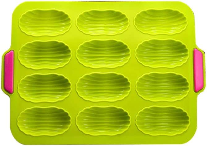 12 Cavities Rectangle Shape Silicone Baking Pan with Handle,Eco-friendly,Non-stick,Reusable and Durable.Pastry Mould,DIY Baking Tool.Great for Making Cupcakes,Chocolate,Bread,Mousse and Muffin,etc.