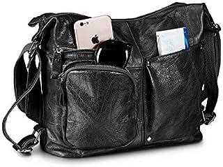 Lecxci Womens Large Multi-purpose Leather Sling Shoulder Purse Crossbody Travel Bag Hiking Day Backpacks