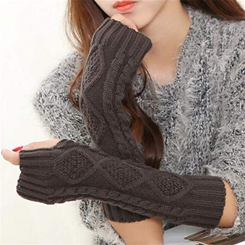 Women Warm Diamond Winter Gloves Mittens Unisex Fashion Arm Warmers Sleeves Gloves to Winter for Woman - (Color: G141 Dark Gray, Gloves Size: 30cm)