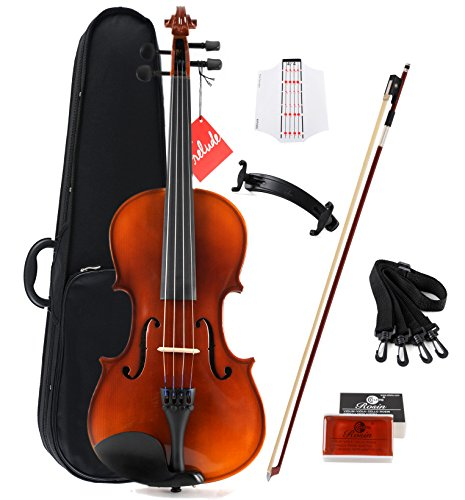 Aileen Solidwood Ebony Kids Students Beginners Violin Rental Shop Preference Outfit with Case, Rosin, Premium Strings, Shoulder Rest, Fingerboard Sticker (1/2)