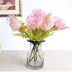Skyseen 3PCS Artificial Pincushion Flower Fake Leucospermum Simulation Tropical Protea Cynaroides Plant,Pink