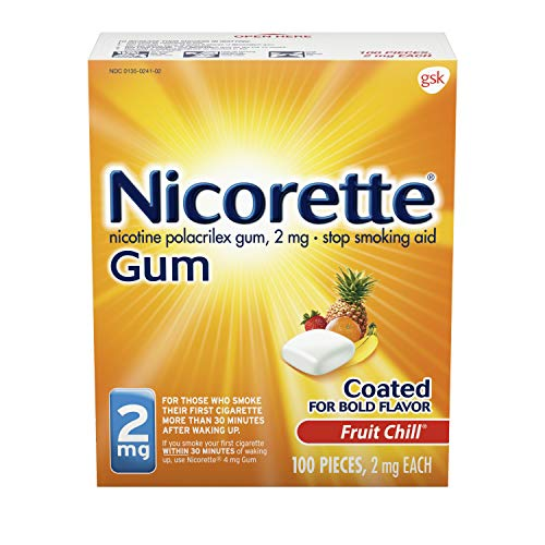 Nicorette Nicotine Gum Fruit Chill 2 milligram Stop Smoking Aid 100 count