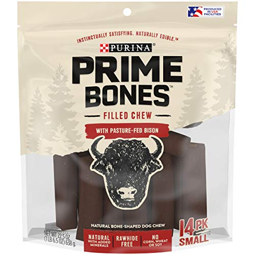 Purina Prime Bones Made in USA Facilities Natural Small Dog Treats, Filled Chew with Pasture-Fed Bison - 22.5 oz. Pouch