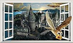 Harry Potter Hogwarts Castle Hedwig Owl 3D Magic Window 3D Wall Crack Wall Smash Movie wall crack Magic Window Wall Sticker Self Adhesive Poster Wall Art V1