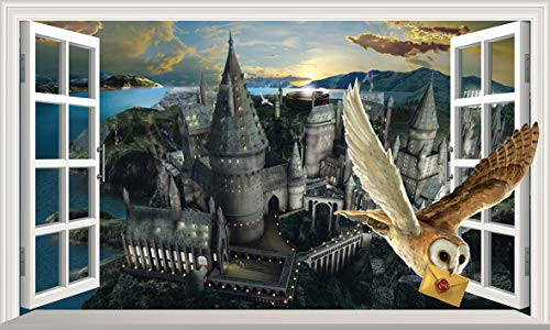 Chicbanners Harry Potter Hogwarts Castle Hedwig Owl 3D Magic Window V444 Wall Sticker Self Adhesive Poster Wall Art Size 1000mm wide x 600mm deep (large)