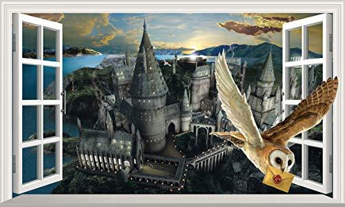 Harry Potter Hogwarts Castle Hedwig Owl 3D Magic Window V444 Wall Sticker