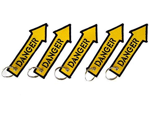 5 geborduurde sleutelhanger - DANGER
