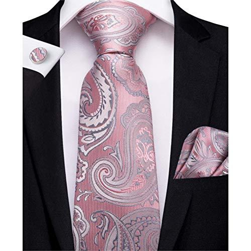 ABDYTE Männer Krawatte Pfirsich Rosa Solide Hochzeit Krawatte Für MännerDesign Taschentuch Manschettenknöpfe Krawatten-Set