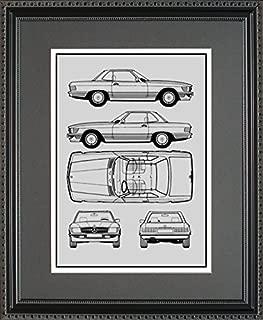 Mercedes-Benz Blueprint Framed Car Art Gift - Choose Your Model, 11x14