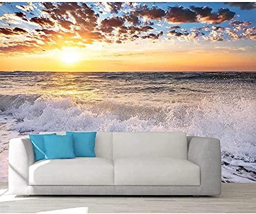 XHXI Foto Papel tapiz 3D Puesta de sol Pintura junto al mar Sala de estar Habitación Pared de vinilo Papel tapiz 3D Deco 3D papel Pintado de pared tapiz Decoración dormitorio Fotomural-200cm×140cm