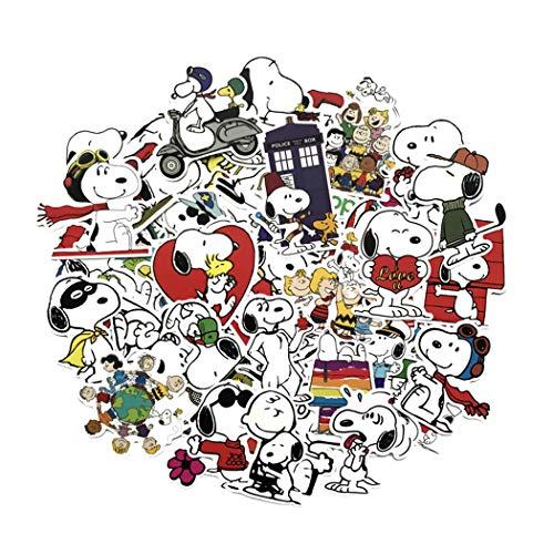 Snoopy Cartoon Waterproof Laptop Stickers Waterproof Skateboard Snowboard Car Bicycle Luggage Decal 62pcs Pack (Snoopy)