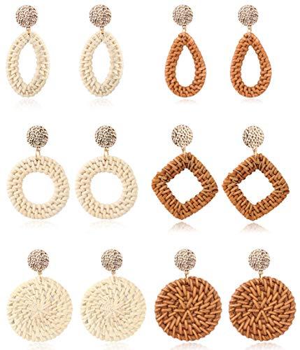 Adramata Rattan Ohrringe für Frauen Handmade Weave Straw Wicker Drop Ohrringe Set