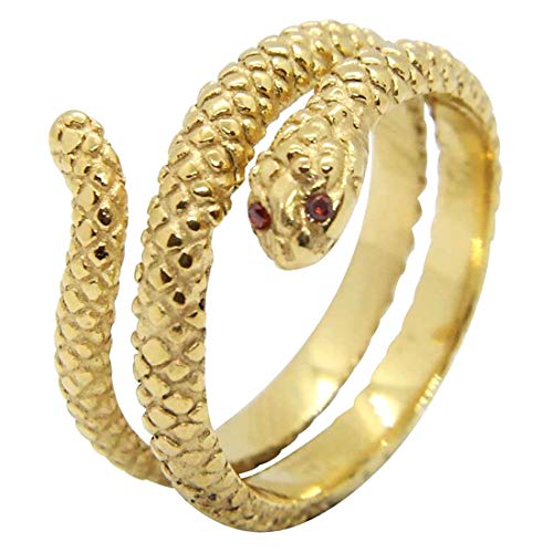 (A) 指輪 リング メンズ 蛇 サージカルステンレス316L 金色 ゴールド レッドアイスネイクステンレスリング(PFX307) 32号 フリーサイズ 重厚 太い 太め 幅あり