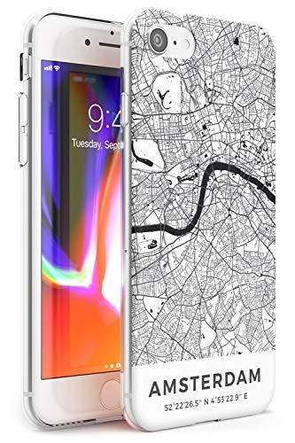 Mappa di Amsterdam, Paesi Bassi Slim Cover per iPhone 5 TPU Protettivo Phone Leggero con Viaggio Olanda Wanderlust Strade Europa