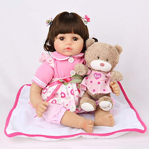 CHAREX Cute Reborn Baby Doll Lifelike Soft Vinyl 18 inch Weighted Reborn Toddler Girl Dolls with...