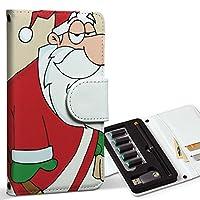スマコレ ploom TECH プルームテック 専用 レザーケース 手帳型 タバコ ケース カバー 合皮 ケース カバー 収納 プルームケース デザイン 革 クリスマス サンタ キャラクター 010068