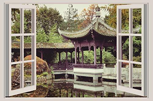 ExklusiveFolien 3D Wandsticker XXL Pavillon asiatisch selbstklebendes Wandtattoo Wandbild deko Optik Ausblick Sticker 60 x 40 weißer Fensterrahmen
