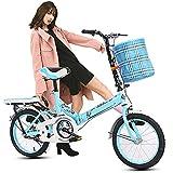 COKECO Bicicleta Plegable Bikes 20 Pulgadas,Neumáticos Antideslizantes ensanchados de Acero con Alto Contenido de Carbono para Adultos pequeños portátiles para Todo Terreno