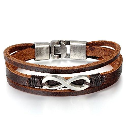 JewelryWe Schmuck Herren Damen unendlichkeits Armband, Geflochten Lederarmband Armreif, Leder Legierung, Braun Silber