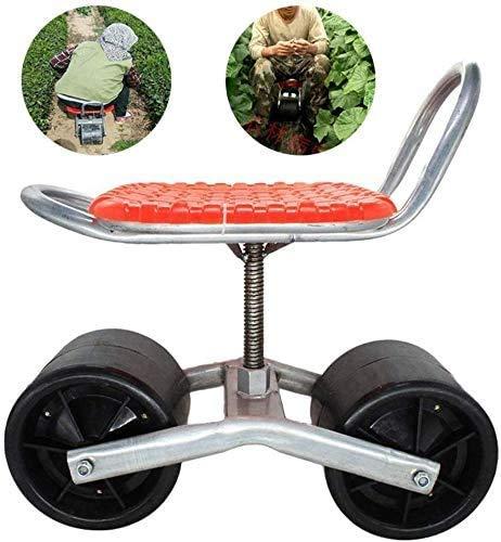FMXYMC Garden Cart Seat, Garden Working Seat, Garden Scooter with Swivel Seat, Adjustable 360-Degree Swivel Seat, Garden Cart with Sliding Seat, for Weeding/Gardening/Outdoor Lawn Care,Red
