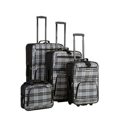 Rockland Luggage 4 Piece Luggage Set, Black Plaid, One Size