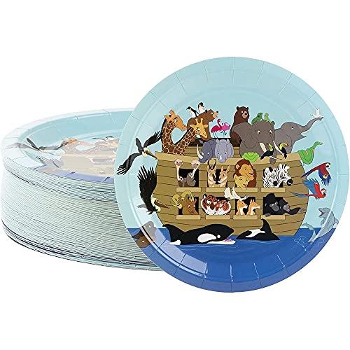 Platos desechables – Platos de papel de 80 unidades, suministros de fiesta de Arca de Noé para aperitivos, almuerzos, cenas y postres, reuniones de iglesia, 9 x 9 pulgadas
