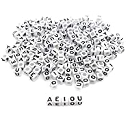 Amaney 250 Pieces 6×6mm White Cube Acrylic Black Alphabet Vowel Letter Beads A E I O U Each 50 Pieces for Jewelry Making Bracelets Necklaces Key Chains and Kids Jewelry