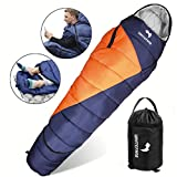 WhiteFang Sleeping Bag with Compression Sack,Wearable Portable Lightweight and Waterproof for Adults & Kids,3-4 Season Mummy Sleeping Bags Great for Hiking, Backpacking,Camping and Outdoor (Blue)